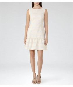 Reiss Delia Champagne Ruffle-Hem Dress
