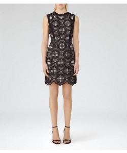 Reiss Dixie Black/ash Graphic Lace Dress