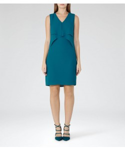 Reiss Elly Blue Enamel Waterfall-Front Dress