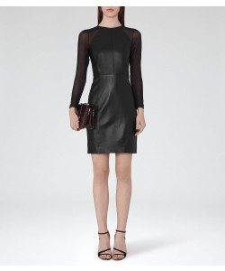 Reiss Elodie Black Leather And Chiffon Dress