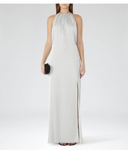 Reiss Elouise Silver Satin Maxi Dress
