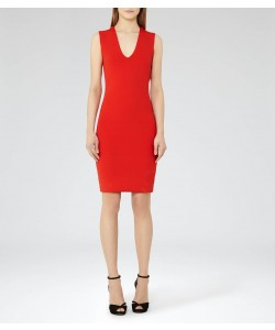 Reiss Elspeth Ruby Knitted Cowl-Neck Dress