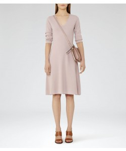 Reiss Emelia Powder Pink Knitted Fit And Flare Dress
