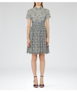 Reiss Emerson Soft Grey Pique Floral Dress