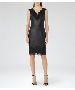 Reiss Etty Black Leather And Lace Dress
