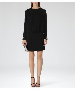 Reiss Farrah Black Drop-Waist Dress