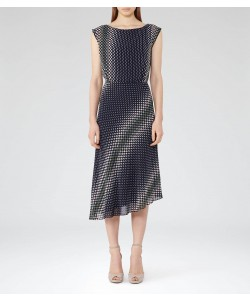 Reiss Felicia Midnight Printed Midi Dress