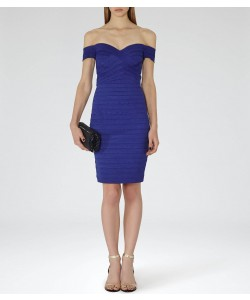 Reiss Forley Blue Abyss Bodycon Off-Shoulder Dress