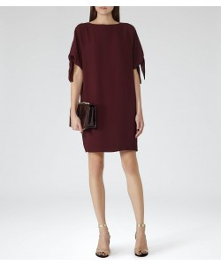 Reiss Georgie Berry Tie-Sleeve Dress