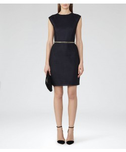 Reiss Granger Night Navy High-Neck Jersey Dress