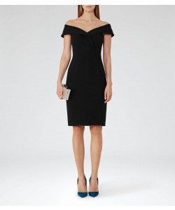 Reiss Haddi Black Off-The-Shoulder Dress
