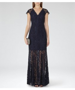 Reiss Haelo Night Navy Lace Dress