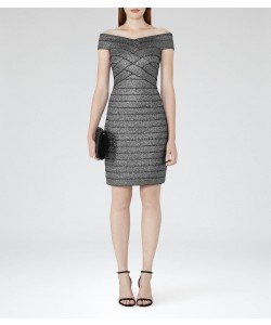 Reiss Hartley Silver Metallic Bodycon Metallic Dress