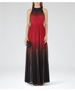 Reiss Hawk Red/garnet Ombre Pleated Maxi Dress