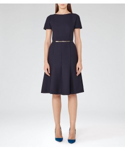 Reiss Hazar Night Navy Fit And Flare Midi Dress