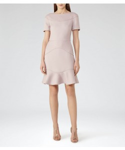 Reiss Hazel Ash Textured Fit And Flare Dress