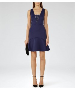 Reiss Hudson Indigo Lace-Insert Dress