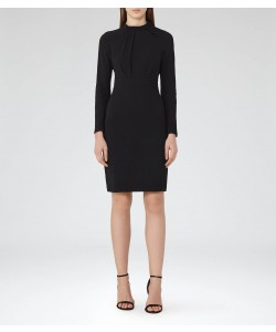 Reiss Irenina Black Pleat-Detail Dress
