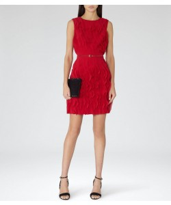 Reiss Jasmine Cherry Red Ruffle-Detail Dress