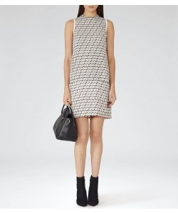 Reiss Jasper Black/off White Printed Tiered Shift Dress