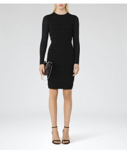 Reiss Jenkins Black Knitted Long-Sleeved Dress