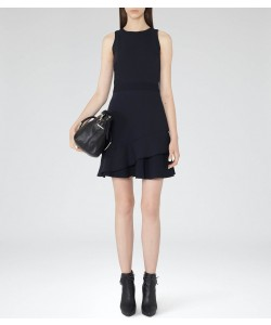 Reiss Jewel Night Navy Layered Fit And Flare Dress