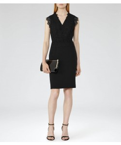 Reiss Joelie Black Lace-Top Dress