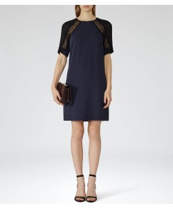 Reiss Karlotta Lux Navy/black Lace Detail Dress