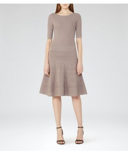 Reiss Karolina Mink Knitted Fit And Flare Dress