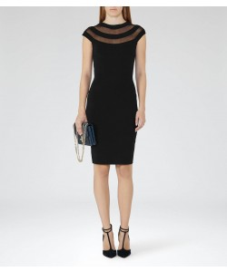 Reiss Karri Black Sheer-Panel Bodycon Dress