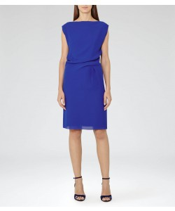 Reiss Kier Sapphire Pleat-Detail Dress