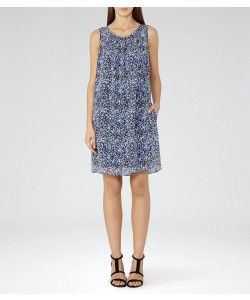 Reiss Lacey Multi Blue Printed Shift Dress
