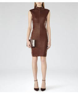 Reiss Laine Deep Mocha Velvet Bodycon Dress