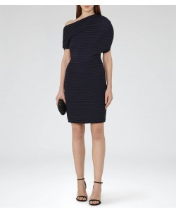 Reiss Laney Night Navy Draped Plisse Dress
