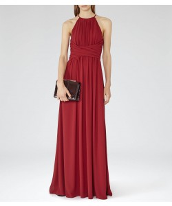 Reiss Lark Crimson Red High-Neck Maxi Dress