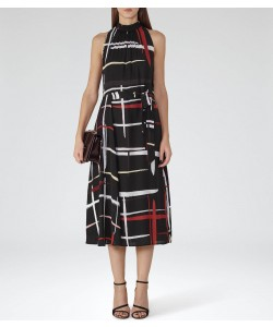 Reiss Lava Black/multi Printed Midi Dress