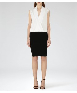 Reiss Layla Black/off White Knitted Wrap Dress