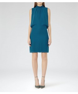 Reiss Leonie Deep Atlantic Tie-Neck Shift Dress