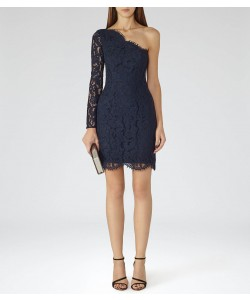 Reiss Leticia Night Navy/black Asymmetric Lace Dress