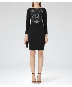 Reiss Libby Black/nude Lace-Front Dress