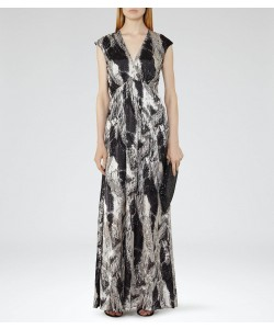 Reiss Lin Platinum/black Printed Maxi Dress