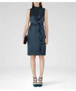 Reiss Lola Deep Ocean Ruffle-Front Dress