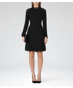 Reiss Ludervine Black Lace-Detail Dress