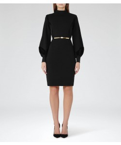 Reiss Lulu Black Velvet-Detail Dress
