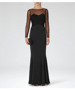 Reiss Lys Black Embellished Maxi Dress