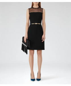 Reiss Madeline Black Mesh-Panel Dress