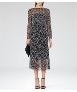 Reiss Maine Black Lace Midi Dress