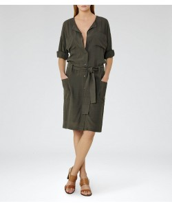 Reiss Margot Khaki Collarless Shirt Dress