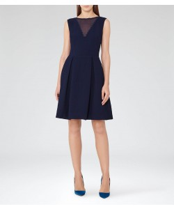 Reiss Marlowe Night Navy Sheer-Panel Fit And Flare Dress