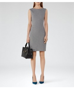 Reiss Marte White/blue Textured Jersey Dress